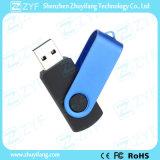 Movimentação do flash do USB do plástico 8GB do giro do metal do azul de céu com logotipo (ZYF1819)