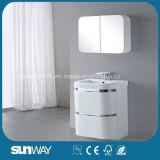 Module de salle de bains à haute brillance de PVC de noir avec le miroir