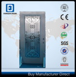 Puerta principal de acero americana de cristal completa del metal de Prehung del hierro labrado de Lite