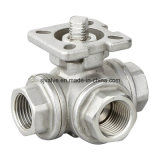 Steel di acciaio inossidabile Threaded a tre vie Ball Valve (Q14F)