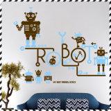 Etiqueta das tecnologias da parede do robô dos desenhos animados do quarto de crianças do GV
