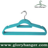 Venda grossa Flocking Hanger com Metal Hook Plastic Velvet Clothing Hanger para Suppermarket Hot Sales 2016