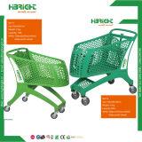 Chariot à achats d'hypermarché avec la portée de bébé