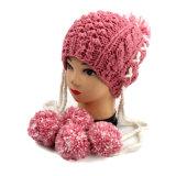 Шлем Earflap Knit руки с загрунтовкой детей женщин Pompom взрослый