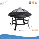 Black esterno Round Fire Pit con Poker Fireplace