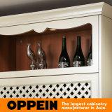 Armadietto di legno della cucina del PVC di euro lucentezza di L-Figura di Oppein alta (OP15-052)