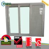 Porta de vidro de deslizamento do plástico 3-Track do membro UPVC/PVC de Awa com projeto das cortinas