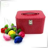 Коробки хранения состава косметик популярных косметик PU кожаный оптовых розовые