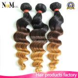 9Aバージンのインドの毛の束のOmbreの深い波のカーリーヘアー2の調子のインドの毛の織り方