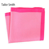 Moderner Marine-Blau-Silk Polyesterstreifen gedrucktes Pocket quadratisches Hanky-Taschentuch