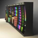 Visualización de la cabina del escaparate de la pared del MDF del diseño moderno con la luz del LED