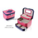 Cuero Colorido de la PU del Diseño Europeo/caja/rectángulo Plegables de Madera de la Joyería del Arte del Almacenaje del Embalaje del Regalo