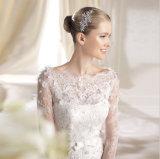 A - a linha ilusão Sleeves o vestido de casamento do barco do laço com faixa