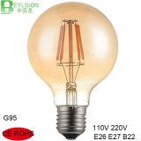 lampe d'intérieur en verre ambre globale de l'ampoule E27 E26 B22 de filament d'ampoule de l'ampoule G95 de filament de 2W 4W 6W 8W Edison DEL grande