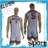 La pianura poco costosa progetta il commercio all'ingrosso per il cliente dell'uniforme di pallacanestro di stampa di colore