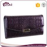 Самый последний новый бумажник высокого качества, пурпуровый бумажник зерна крокодила, длинний бумажник повелительниц неподдельной кожи