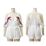 Form-Frauen V-Stutzen reizvolles Stickerei-Gefäß-Bodysuit-Kleid
