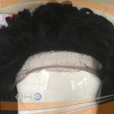 까만 가득 차있는 손에 의하여 묶이는 Virgin Remy 인간적인 머리 가득 차있는 레이스 가발 떨어져 2.5cm 단단한 꼬부라진