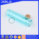 (5ml 10ml 20ml)淡いブルーのカラー木のコルクが付いているガラスコルクのびんのサンプルびん