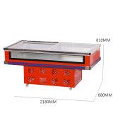 Refrigerador da caixa do indicador do espaço livre da parte dianteira da porta de vidro de deslizamento