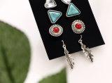 Weinlese-Blatt-Stift-Ohrring-Sets für Frauen-Kristalltürkis und roten Stoneset De Aros