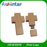 USB 디스크 예수 교차하는 USB Pendrive 나무로 되는 USB 섬광 드라이브