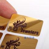 De geborstelde Gouden Goedkope Stickers van de Douane van het Embleem Druk Gepersonaliseerde Zelfklevende Vinyl