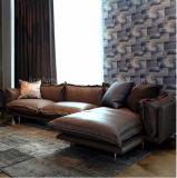 Modernes echtes Leder-Sofa-Hauptbett mit Feder