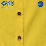 De gele Blouse van de Dames van de Manier van de Knoop van de lang-Koker Losse met drapeert in Rug