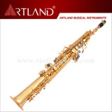 Bb Key Golden Lacquer Finish Professional Saxophone Soprano (ASS5506)