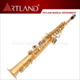 Sassofono professionale del soprano di rivestimento dorato chiave della lacca di Bb (ASS5506)