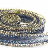 Il Rhinestone dell'elemento che assetta la difficoltà calda borda la catena di seta del Rhinestone della maglia per gli accessori dell'indumento (azzurro di seta di TP-15mm)