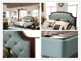 Modernes Foshan-Schlafzimmer-Möbel-Leder-weiches Bett mit hölzernem Headboard