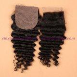 インドの深い波の閉鎖4*4の絹の基礎閉鎖8Aの加工されていない毛の絹の基礎閉鎖