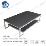 Lato nero o tavolino da salotto dell'acciaio inossidabile del metallo di rettangolo del MDF