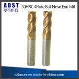 Molino de extremo de la nariz de la bola de acero de tungsteno de Edvt 60HRC 4flute