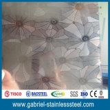 Feuille épaisse gravée en relief d'acier inoxydable de fleur de 0.5mm