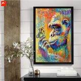 Картина холстины гориллы и бабочки