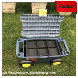 Carro resistente móvel da caixa de armazenamento da ferramenta do jardim com a roda 4