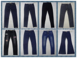 calças de brim magros do pé 9.2oz reto preto para as mulheres (HYQ57-01A)