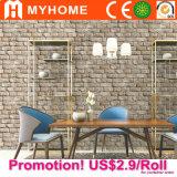 Papel de parede barato do vinil 3D do PVC da decoração da HOME do preço de Guangzhou