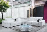 Sofá de couro de canto branco moderno para a mobília L forma da sala de visitas