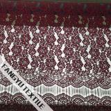 赤い花のトリミングのレースのナイロン綿のレースファブリック