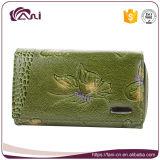 Signora Wallet di funzione impressa farfalla di lusso del cuoio genuino di verde del raccoglitore delle donne di Fani multi