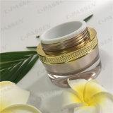 化粧品の包装のための円形シリーズ50gローズ金のアクリルのクリーム色の瓶(PPC-ACJ-094)
