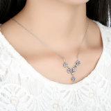 Trendy Purpere Bloemen 925 van het Zirkoon de Echte Zilveren Reeks van de Ring van de Oorringen van de Halsband van Juwelen Vastgestelde S925