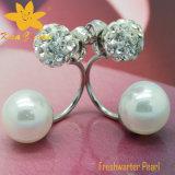 Серьги зажима перлы белого цвета способа Fper-005 пресноводные