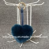 Pelliccia Keychain di figura del cuore di Keychain della pelliccia del coniglio del Faux