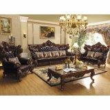 Hölzernes ledernes Sofa eingestellt für Wohnzimmer-Möbel (D530)