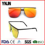 Óculos de sol de tamanho grande do Mens das lentes do espelho do frame do metal da forma de Ynjn